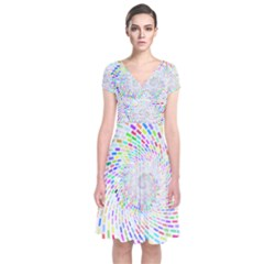 Prismatic Abstract Rainbow Short Sleeve Front Wrap Dress by Mariart