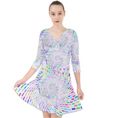 Prismatic Abstract Rainbow Quarter Sleeve Front Wrap Dress	 by Mariart