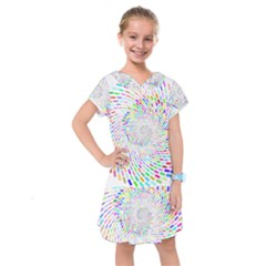 Prismatic Abstract Rainbow Kids  Drop Waist Dress