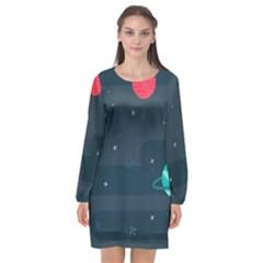 Space Pelanet Galaxy Comet Star Sky Blue Long Sleeve Chiffon Shift Dress