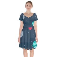 Space Pelanet Galaxy Comet Star Sky Blue Short Sleeve Bardot Dress