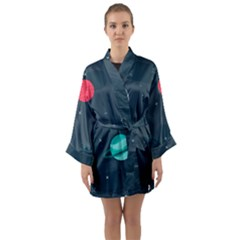 Space Pelanet Galaxy Comet Star Sky Blue Long Sleeve Kimono Robe by Mariart
