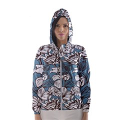 Star Flower Grey Blue Beauty Sexy Hooded Wind Breaker (women)