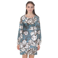Star Flower Grey Blue Beauty Sexy Long Sleeve Chiffon Shift Dress