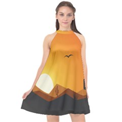 Sunset Natural Sky Halter Neckline Chiffon Dress