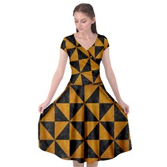 Triangle1 Black Marble & Yellow Grunge Cap Sleeve Wrap Front Dress by trendistuff