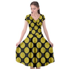 Circles2 Black Marble & Yellow Leather (r) Cap Sleeve Wrap Front Dress by trendistuff