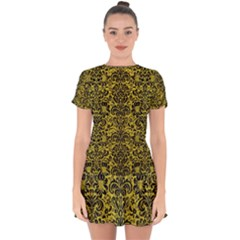 Damask2 Black Marble & Yellow Leather Drop Hem Mini Chiffon Dress by trendistuff