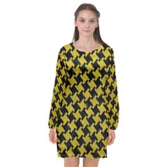 Houndstooth2 Black Marble & Yellow Leather Long Sleeve Chiffon Shift Dress  by trendistuff