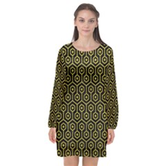 Hexagon1 Black Marble & Yellow Leather (r) Long Sleeve Chiffon Shift Dress  by trendistuff