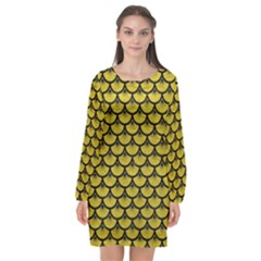 Scales3 Black Marble & Yellow Leather Long Sleeve Chiffon Shift Dress  by trendistuff