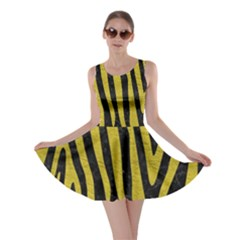 Skin4 Black Marble & Yellow Leather Skater Dress by trendistuff