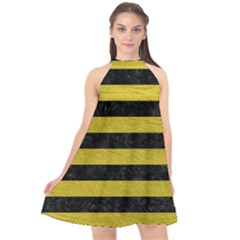 Stripes2 Black Marble & Yellow Leather Halter Neckline Chiffon Dress  by trendistuff