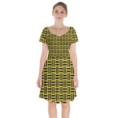 Woven1 Black Marble & Yellow Leather Short Sleeve Bardot Dress by trendistuff