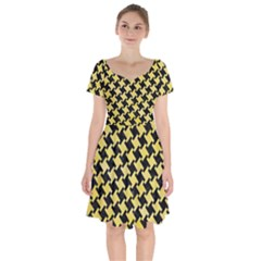 Houndstooth2 Black Marble & Yellow Watercolor Short Sleeve Bardot Dress by trendistuff