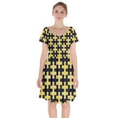 Puzzle1 Black Marble & Yellow Watercolor Short Sleeve Bardot Dress by trendistuff