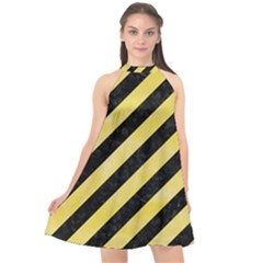 Stripes3 Black Marble & Yellow Watercolor (r) Halter Neckline Chiffon Dress  by trendistuff