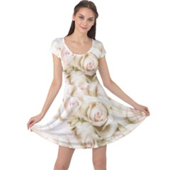 Pastel Roses Antique Vintage Cap Sleeve Dress