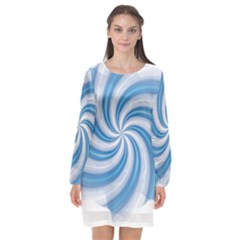 Prismatic Hole Blue Long Sleeve Chiffon Shift Dress
