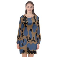 Superfiction Object Blue Black Brown Pattern Long Sleeve Chiffon Shift Dress