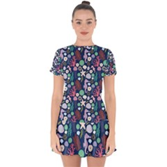 Seahorses Jellyfish Seaworld Sea  Beach Swiim Drop Hem Mini Chiffon Dress by Mariart