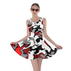 Vector Red Black White Camo Advance Skater Dress by Mariart