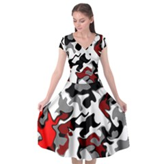 Vector Red Black White Camo Advance Cap Sleeve Wrap Front Dress