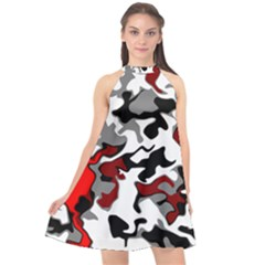 Vector Red Black White Camo Advance Halter Neckline Chiffon Dress  by Mariart