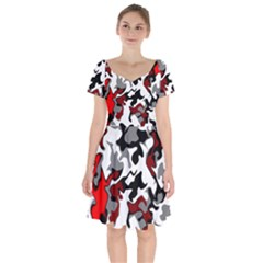 Vector Red Black White Camo Advance Short Sleeve Bardot Dress by Mariart
