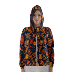 Tribal Ethnic Blue Gold Culture Hooded Wind Breaker (women)
