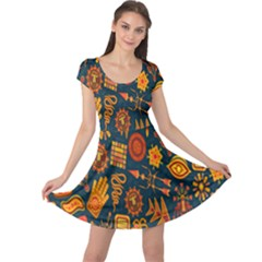Tribal Ethnic Blue Gold Culture Cap Sleeve Dress