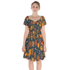 Tribal Ethnic Blue Gold Culture Short Sleeve Bardot Dress by Mariart