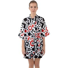Square Objects Future Modern Quarter Sleeve Kimono Robe by Celenk