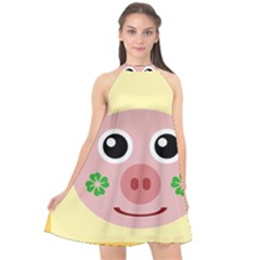 Luck Lucky Pig Pig Lucky Charm Halter Neckline Chiffon Dress  by Celenk