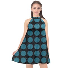 Circles1 Black Marble & Teal Leather (r) Halter Neckline Chiffon Dress  by trendistuff