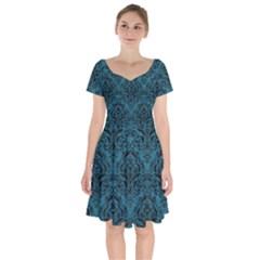 Damask1 Black Marble & Teal Leather Short Sleeve Bardot Dress by trendistuff