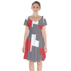 Cross Abstract Shape Line Short Sleeve Bardot Dress by Celenk