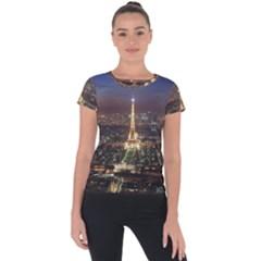 Paris At Night Short Sleeve Sports Top  by Celenk