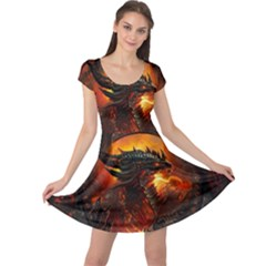 Dragon Legend Art Fire Digital Fantasy Cap Sleeve Dress