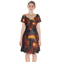 Dragon Legend Art Fire Digital Fantasy Short Sleeve Bardot Dress by Celenk