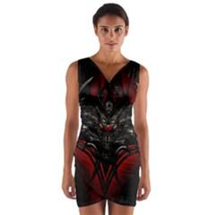 Black Dragon Grunge Wrap Front Bodycon Dress