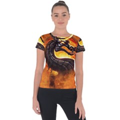 Dragon And Fire Short Sleeve Sports Top  by Celenk