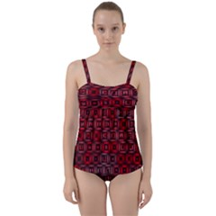 Classic Blocks,red Twist Front Tankini Set
