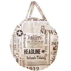 Vintage Newspapers Headline Typography Giant Round Zipper Tote
