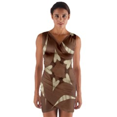 Chocolate Brown Kaleidoscope Design Star Wrap Front Bodycon Dress by yoursparklingshop
