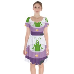 Ufo Short Sleeve Bardot Dress by Celenk