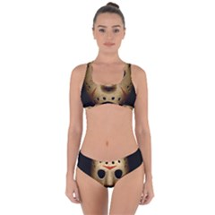 Jason Hockey Goalie Mask Criss Cross Bikini Set by Celenk