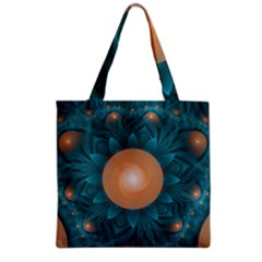 Beautiful Orange Teal Fractal Lotus Lily Pad Pond Grocery Tote Bag by jayaprime