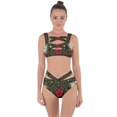 Christmas Wreath Stars Green Red Elegant Bandaged Up Bikini Set  by yoursparklingshop