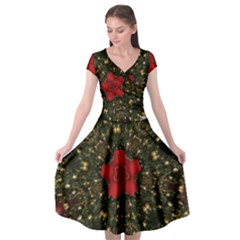 Christmas Wreath Stars Green Red Elegant Cap Sleeve Wrap Front Dress by yoursparklingshop